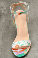 Chilali Nude Print Ankle Strap Heels 5