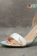 Chilali Nude Print Ankle Strap Heels 6
