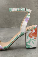 Chilali Nude Print Ankle Strap Heels 7