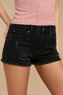 Delightful Daydream Washed Black Distressed Denim Shorts 1