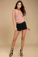 Delightful Daydream Washed Black Distressed Denim Shorts 2