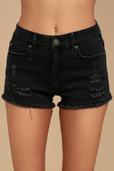 Delightful Daydream Washed Black Distressed Denim Shorts 5