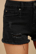 Delightful Daydream Washed Black Distressed Denim Shorts 6