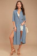 Sweet Cottage Denim Blue Long Sleeve Cover-Up 1