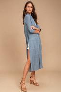 Sweet Cottage Denim Blue Long Sleeve Cover-Up 3