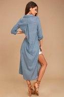 Sweet Cottage Denim Blue Long Sleeve Cover-Up 4