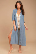 Sweet Cottage Denim Blue Long Sleeve Cover-Up 2