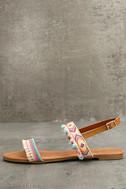 Danica Nude Embroidered Pompom Flat Sandals 1