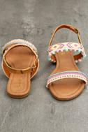 Danica Nude Embroidered Pompom Flat Sandals 3