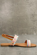 Danica Nude Embroidered Pompom Flat Sandals 4