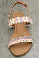 Danica Nude Embroidered Pompom Flat Sandals 5