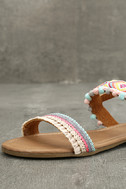 Danica Nude Embroidered Pompom Flat Sandals 6