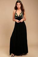 Artfully Arranged Black Embroidered Maxi Dress 1