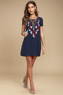 Lyrical Winds Navy Blue Embroidered Lace-Up Dress 2