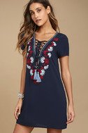 Lyrical Winds Navy Blue Embroidered Lace-Up Dress 3