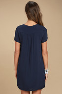 Lyrical Winds Navy Blue Embroidered Lace-Up Dress 4