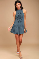 Adalia Teal Blue Embroidered Backless Dress 2