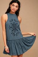 Adalia Teal Blue Embroidered Backless Dress 3
