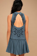Adalia Teal Blue Embroidered Backless Dress 4