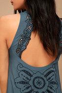 Adalia Teal Blue Embroidered Backless Dress 5
