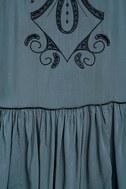 Adalia Teal Blue Embroidered Backless Dress 6
