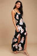Peony For Your Thoughts Black Floral Print Maxi Dress 2