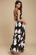 Peony For Your Thoughts Black Floral Print Maxi Dress 3
