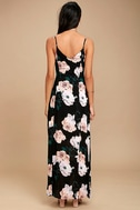 Peony For Your Thoughts Black Floral Print Maxi Dress 4