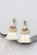 Tuscan Sun Gold and Beige Rhinestone Tassel Earrings 2