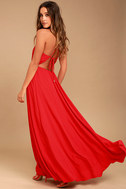 Everything's All Bright Red Backless Maxi Dress 3