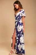 Azalea Regalia Navy Blue Floral Print Wrap Maxi Dress 2