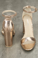 Glamorous Ceara Rose Gold Ankle Strap Heels 3