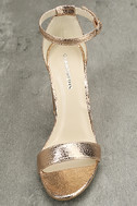 Glamorous Ceara Rose Gold Ankle Strap Heels 5