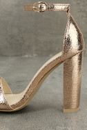 Glamorous Ceara Rose Gold Ankle Strap Heels 7