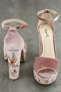 Abella Blush Velvet Embroidered Platform Heels 3