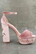 Abella Blush Velvet Embroidered Platform Heels 4