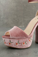 Abella Blush Velvet Embroidered Platform Heels 6