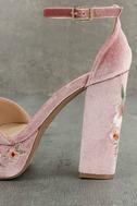 Abella Blush Velvet Embroidered Platform Heels 7