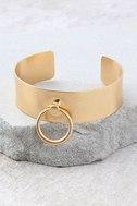 Perfect Circle Gold Cuff Bracelet 2