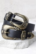 Into the West Black and Gold Double Buckle Belt 1