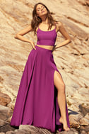 Thoughts of You Magenta Two-Piece Maxi Dress 2