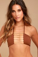 Blue Life Bamboo Rust Red Bikini Top 1