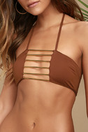 Blue Life Bamboo Rust Red Bikini Top 5