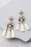Brilliant Belle Beige and Gold Tassel Earrings 1