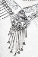 Mythic Melody Silver Layered Statement Necklace 2