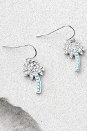 Palms of Paradise Blue and Silver Rhinestone Earrings 1