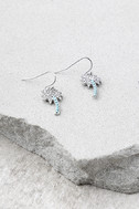 Palms of Paradise Blue and Silver Rhinestone Earrings 2