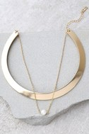Glam Gala Gold and Pearl Layered Collar Necklace 2