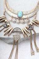 Rhea Layered Gold Statement Necklace 2