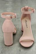 Elettra Blush Nubuck Ankle Strap Heels 3
